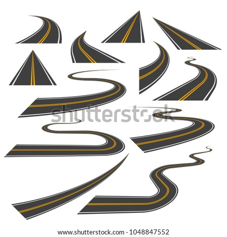 Big set of asphalt road curves, turns, bankings, and perspectives. Bending road, highway or roadway illustration. Collection of winding road design elements with white and yellow markings.