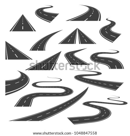 Big set of asphalt road curves, turns, bankings, and perspectives. Bending road, highway or roadway illustration. Collection of winding road design elements with white markings.