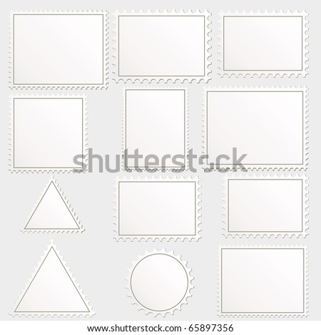 big set of blank postage stamps different geometric shapes.