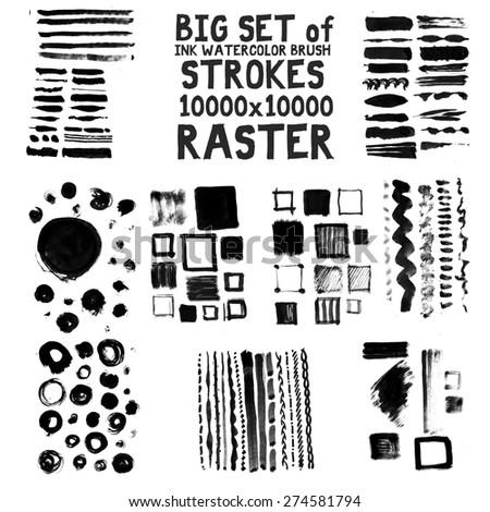 Big set of brush ink watercolor strokes hi res, high resolution 10000x10000