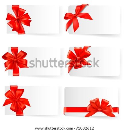 Big set of card with red gift bows. Raster version of vector.