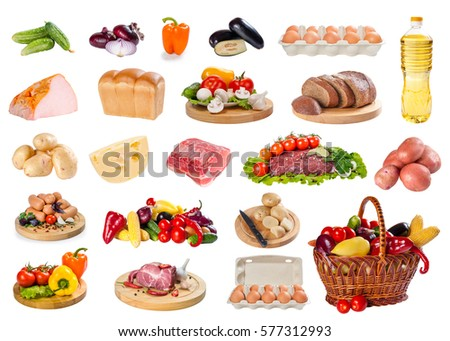 Big set of different food isolated on white background. Meat, cheese, bread, eggs, vegetables and other products #577312993