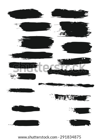 Big set of grunge brush strokes.  elements for your design