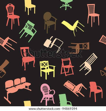 Big set of home chair silhouettes seamless pattern. Raster version.