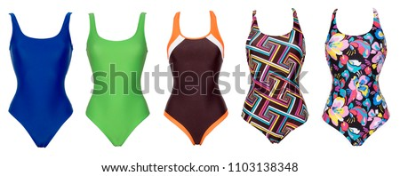 Big set of one piece swimsuits of different color