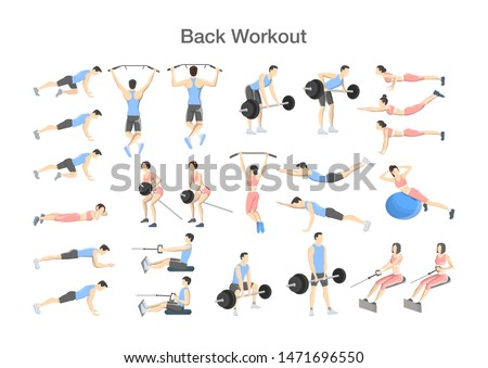 Big set of people doing exercises in the gym. Workout with exercise machine for different groups of muscles. Upper body training for back. Isolated flat  illustration