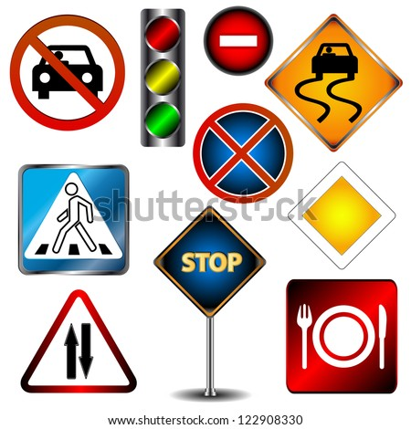 Big set of road signs on a white background