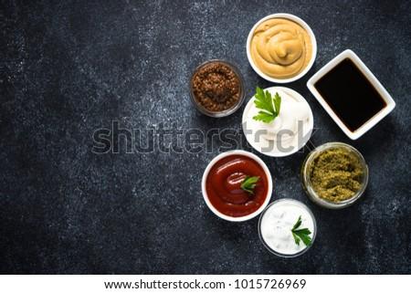 Big set of sauces. #1015726969
