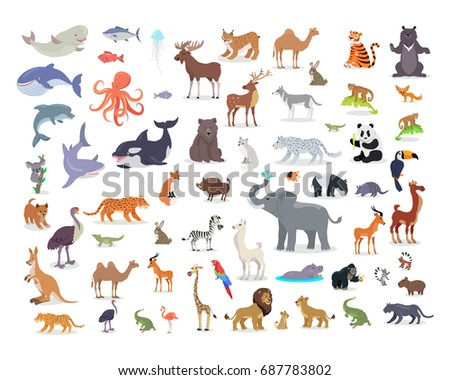 Big set of wild animals cartoon s. African, Australian, Arctic, Asian, South and North American fauna predators and herbivorous species.  Aquatic animals, fishes, tropical birds isolated icons