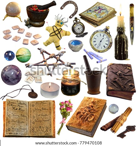 Big set with magic and occult objects isolated on white. Occult, esoteric, divination and wicca concept. Mystic and vintage astrology background for antique decorations, scrapbooking #779470108