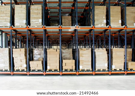 Big shelf with lot of pallets in warehouse