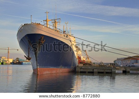Big ship unload on dock in the sunset