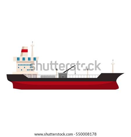 Big ship with oil icon. Cartoon illustration of big ship with oil  icon for web