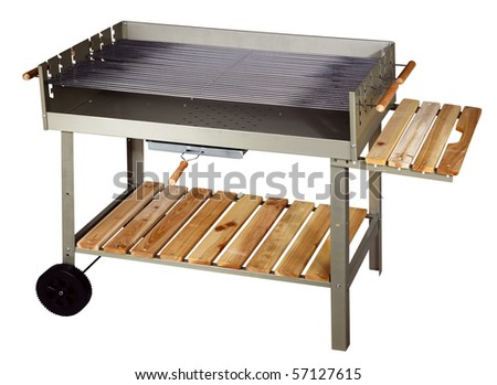 Big silver barbecue grill. Isolated on white background