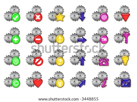 Big silver gears collections of web icons