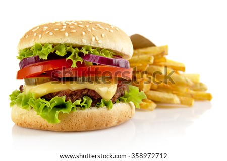 Shutterstock Big single cheeseburger with french fries isolated on white background