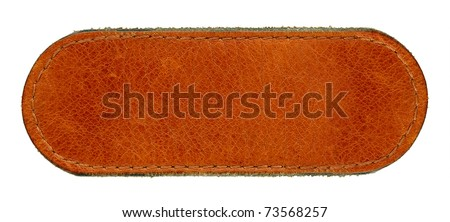Big size blank grungy brown natural leather jeans label, highly detailed, isolated on white background