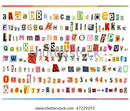Big size clipping alphabet (cutout from newspapers and magazines) with letters, numbers and symbols, isolated on white background
