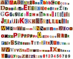 Big size colorful newspaper, magazine alphabet with letters, numbers and symbols. Isolated on white background.