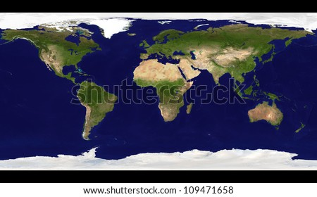 Big size physical world map illustration