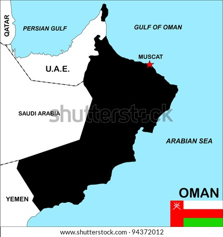 big size political map of oman with flag