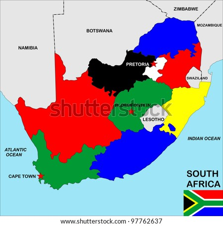 big size political map of south africa with flag