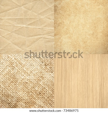 Big size set of four highly detailed textures in matching color - battered paper, grungy leather, old canvas and wood