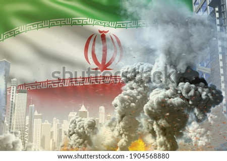 big smoke pillar with fire in abstract city - concept of industrial blast or act of terror on Iran flag background, industrial 3D illustration Photo stock ©