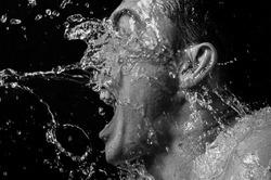 big splash in the man face