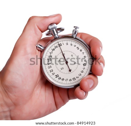 Big sport timer in men hand on white background