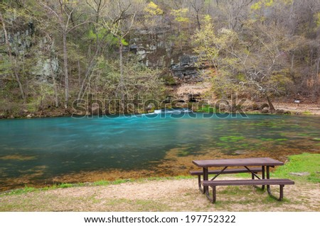 Big Spring in Missouri displaying spring colors and new foliage.
