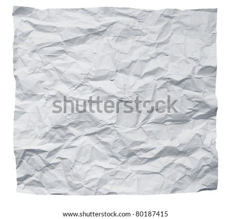 Big square crumpled paper on a white background.