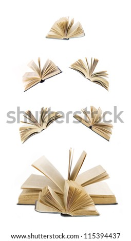 Big stack of books with opened books flying away (education concept)
