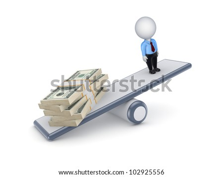 Big stack of dollars and 3d small person on a scales.Isolated on white background.3d rendered.