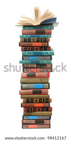 Big stack of old antique books and open book on the top isolated on white background - stock photo