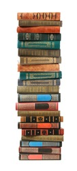 Big stack of old antique books isolated on white background