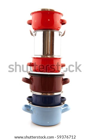Big stack with pots and pans isolated over white - stock photo