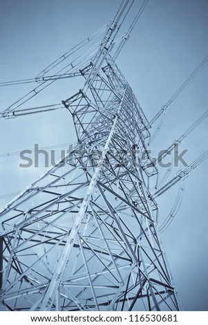 big steel power tower outside