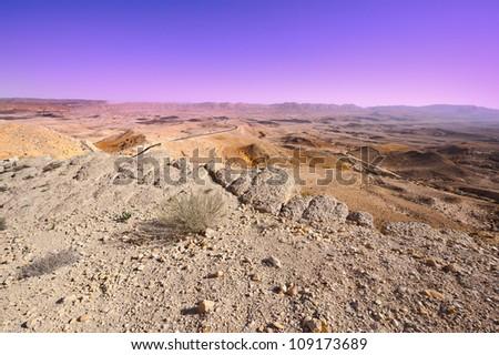 Big Stones of Grand Crater in Negev Desert, Israel