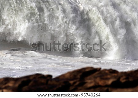 Big stormy wave crashing over Portuguese Coast