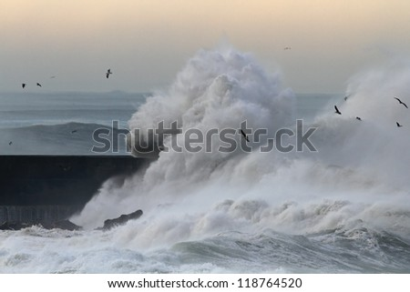 Big stormy waves crashing over Portuguese Coast; morning light