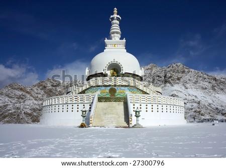 big stupa in Leh in winter