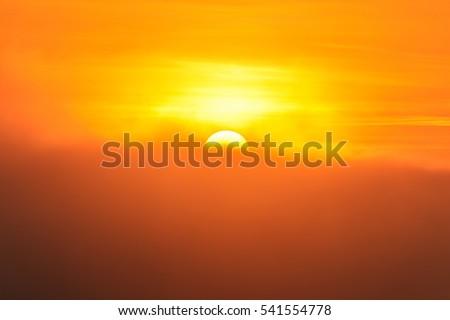 Big sun and Mist in sunrise,Morning,White balace orange on sunrise