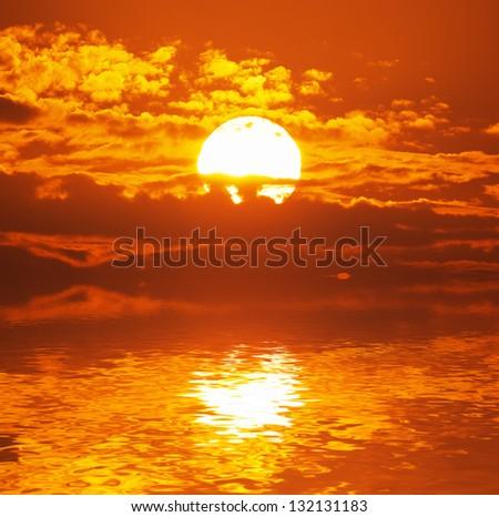 Big sun. Nature composition.