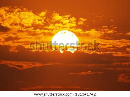 Big Sun on sunset. Nature composition. #131341742