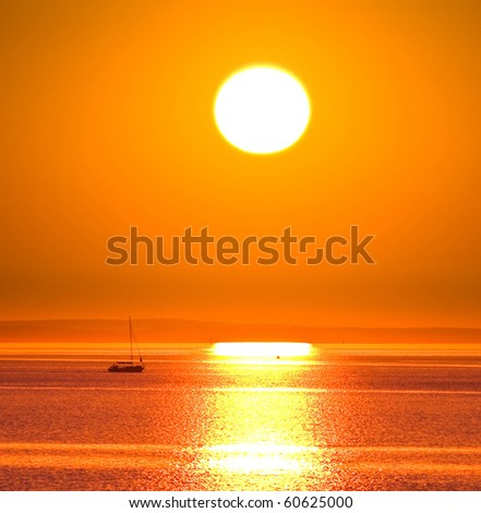Big Sun Setting - stock photo