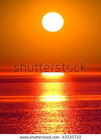 Big Sun Setting - stock photo