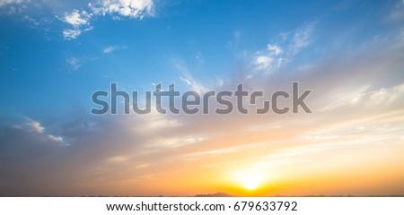 Big sunset and red lighting sky #679633792