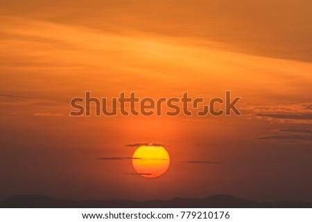 Big sunset the sky is orange. #779210176