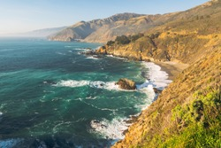 Big Sur, California Coast. Scenic view of cliffs and ocean, California State Route 1, Monterey County